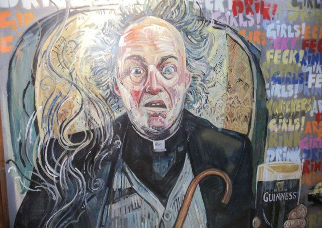 The new mural includes Father Jack (pictured), Ted, Dougal and a whole host of other characters. Picture: Matt Marcus\Malones