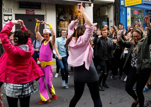 A silent disco walking tour in Edinburgh's Grassmarket.