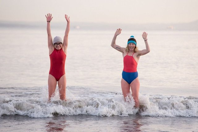 Dozens of women of all ages took part in the icy swim. Picture: Contributed