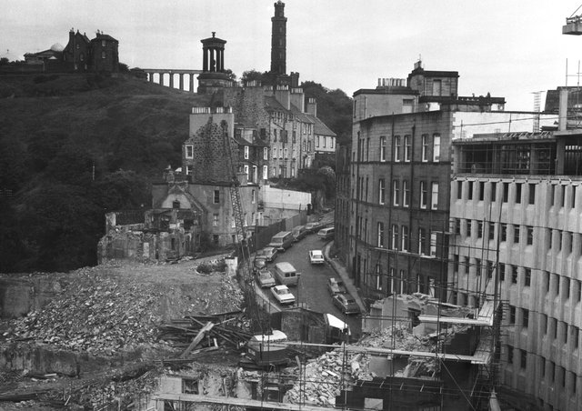 The demolition of the top of Leith Street is almost complete in this picture taken in August 1973