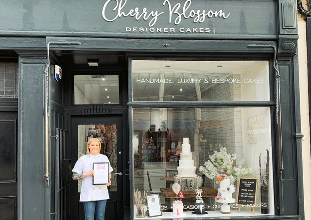 Stephanie  McNab, owner of Cherry Blossom Designer Cakes, Bathgate, celebrates a silver award at the Cake International competition, held recently  in Birmingham.