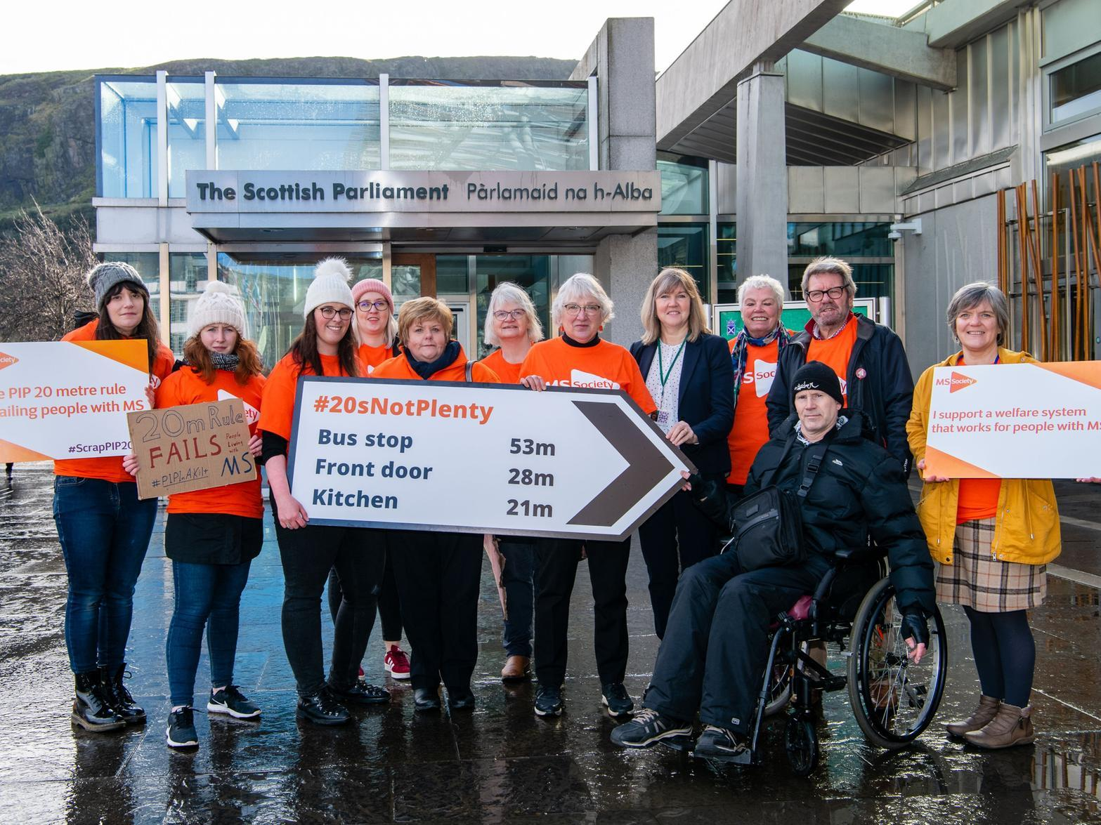 'End indignity of making us walk for our money:' Edinburgh woman with MS protests outside Holyrood over '20 metre walking rule'