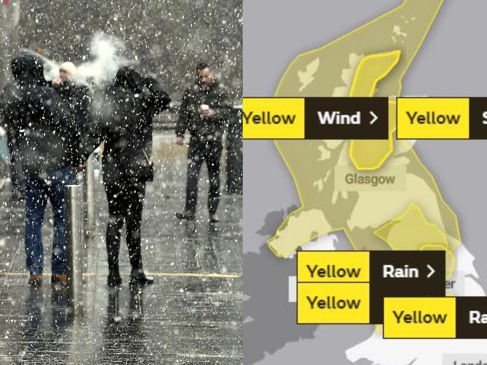 Scotland's weather: Four yellow weather warnings issued for 75mph gales, snow and heavy rain