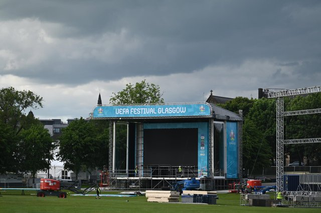 Building of the Glasgow Green Fan Zone for the Euro 2020 football tournament gets underway but concern surrounds the daily mass gathering of around 6,000 fans without the need for a Covid-19 test. PIC: John Devlin.