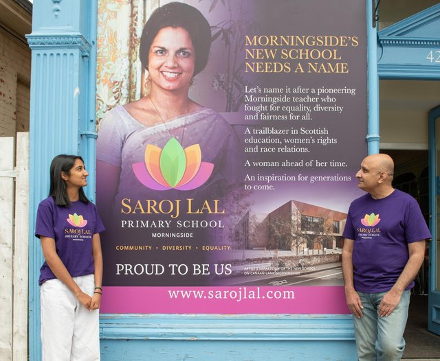 Saroj Lal's son, Vineet Lal,  and granddaughter, Isha Saini, outside the new centre in Morningside. - Picture by: Jon Davey