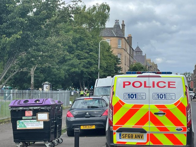 Police spotted outside Dalmeny Park with units in attendance (Photo: Katharine Hay).