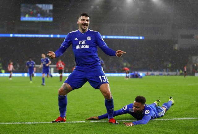 Callum Paterson after scoring for Cardiff City against Southampton in the Premier League in 2018. Picture: Getty
