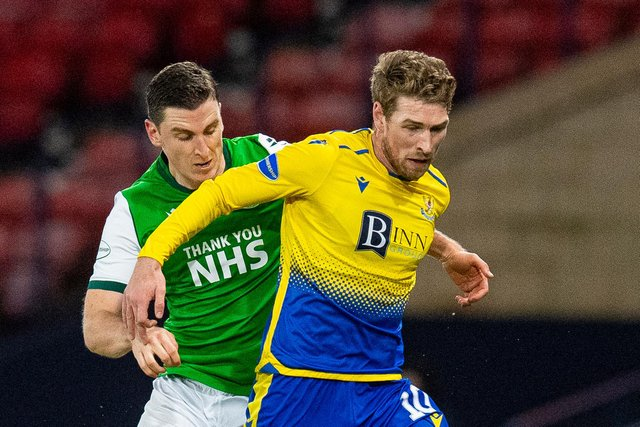 Paul Hanlon of Hibs vies for the ball with St Johnstone's David Wotherspoon during the last meeting between the two team