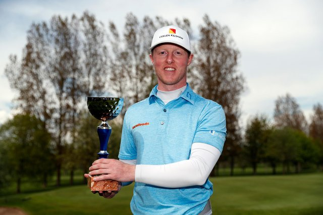 Craig Howie poses with the trophy after his runaway win in the Range Servant Challenge by Hinton Golf at Hinton Golf Club in Malmo. Picture: Luke Walker/Getty Images.