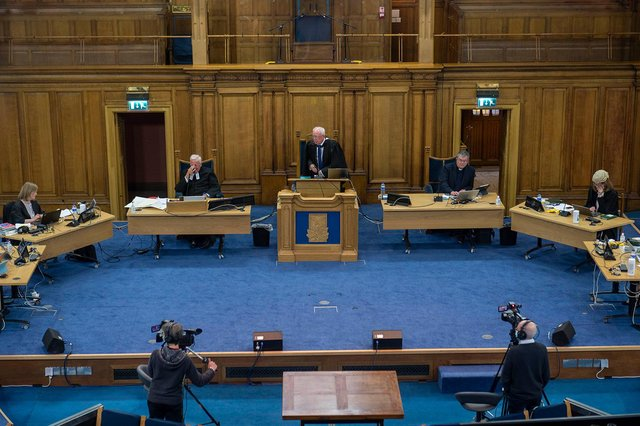 The General Assembly is taking place mainly online with only a few present in the hall (Picture: Andrew O'Brien)