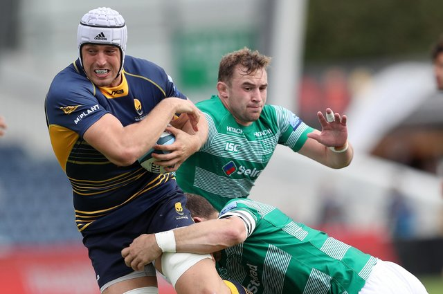 Pierce Phillips in action for former club Worcester Warriors against Newcastle. He will join Edinburgh in the summer.