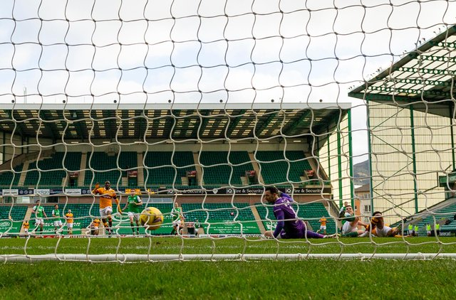 Jordan Roberts scores to make it 1-0 to Motherwell during the Scottish Premiership match win over Hibs at Easter Road on Saturday. (Photo by Mark Scates / SNS Group)