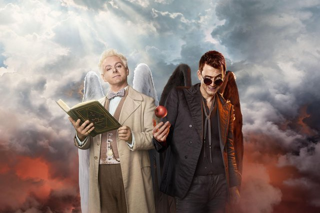 Michael Sheen stars as Aziraphale and David Tennant plays Crowley in Good Omens. Picture: Steve Schofield