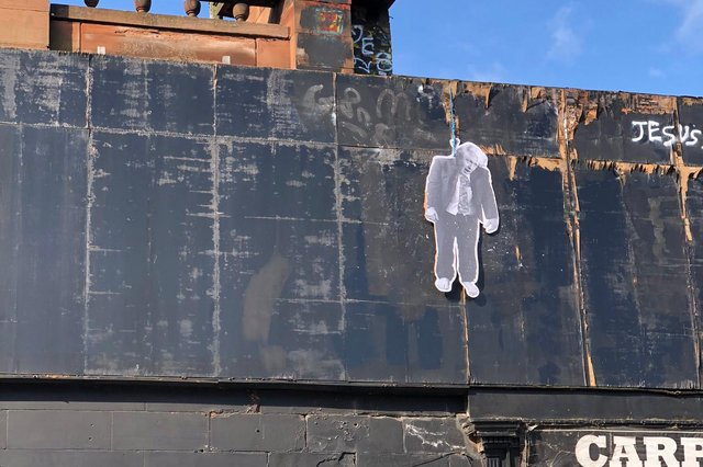 The disturbing image of Boris Johnson was pictured hanging from a building in Leith Walk. Pic: Iain Whyte.