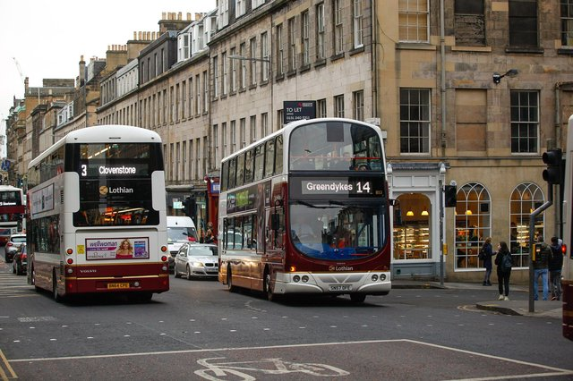 Lothian buses travelling through Edinburgh city centre picture: JPI Media