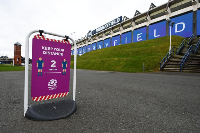A Covid-19 safety sign signage of BT Murrayfield, the home of Scottish Rugby. Picture: SNS