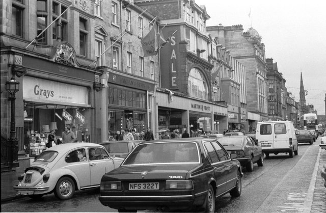 Shopkeepers in George Street Edinburgh were complaining that parking restrictions were affecting business and forcing them to relocate in December 1987.