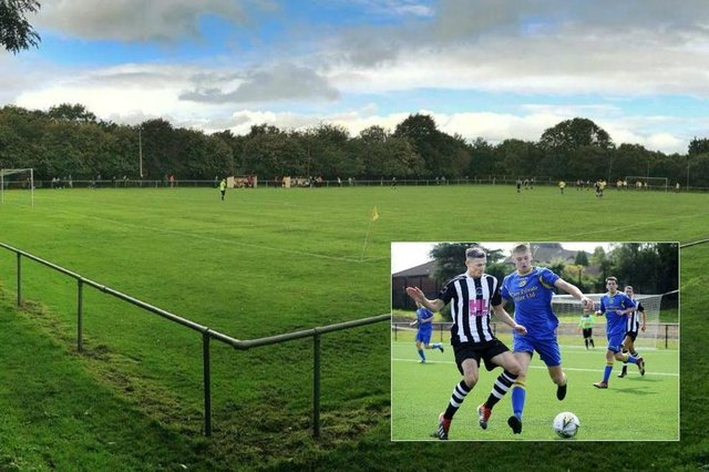 St Mark's Park, home of Craigroyston, and (inset) Craigie in action against Dunipace