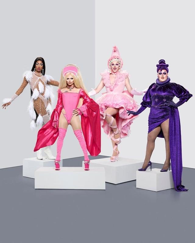 Four finalists from RuPaul's Drag Race UK Season two (L-R) Tayce, Bimini Bon Boulash, Ellie Diamond, Laurence Chaney.