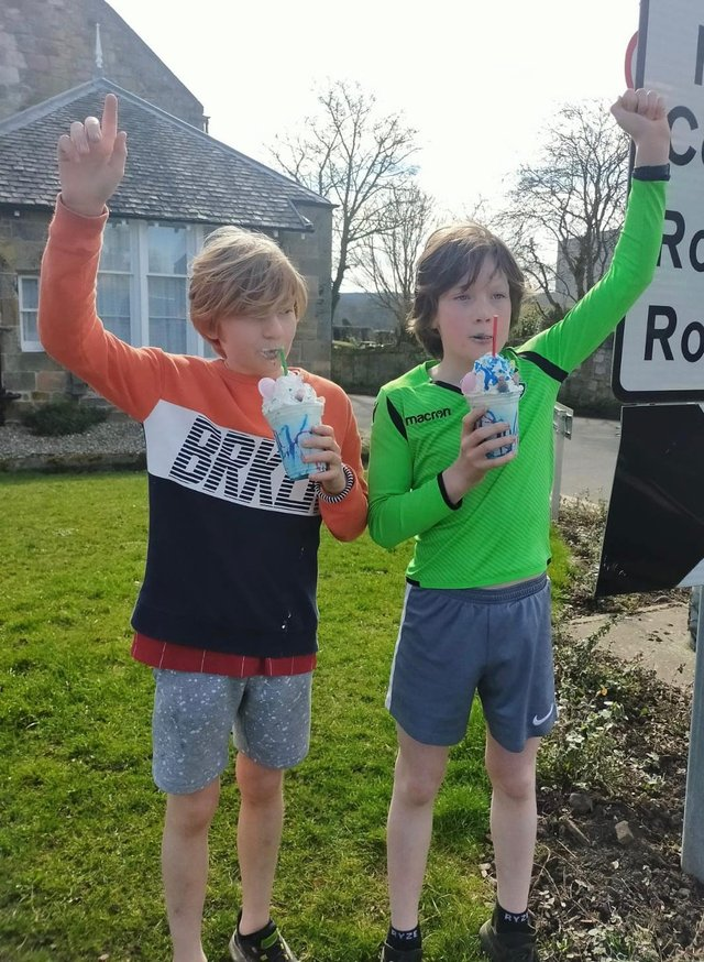 Great effort by Arthur and Freddie Miller and their schoolmates