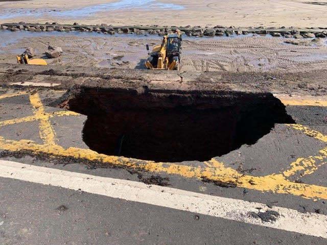 A sinkhole has appeared on Dunbar's Lamer Street. Photograph: Dunbar Community Council