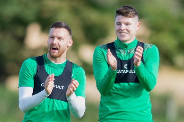Hibs forwards Martin Boyle (L) and Kevin Nisbet have produced performances worthy of applause this season. Photo by Mark Scates / SNS Group