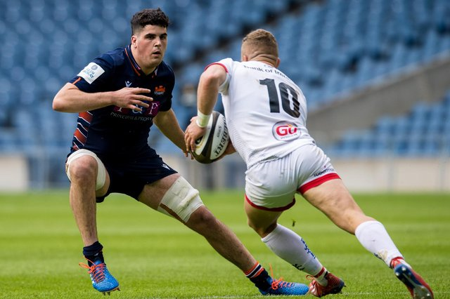 Marshall Sykes, left, in action for Edinburgh against Ulster in the Rainbow Cup. Picture: Ross Parker/SNS