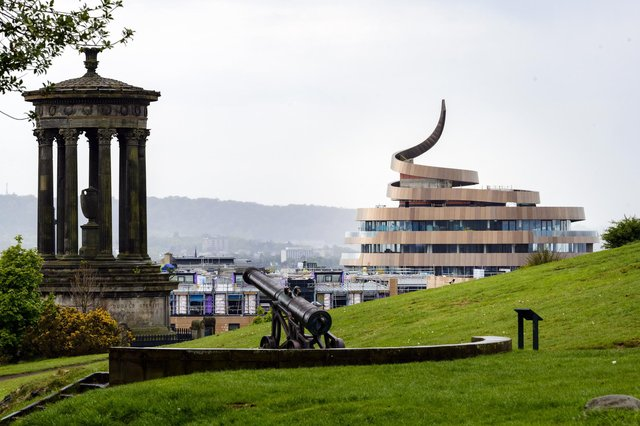 The St James Quarter's distinctive hotel, as viewed from Calton Hill. There is talk of the development accounting for 30 per cent of the city centre's business