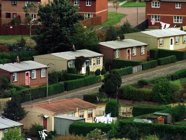 Prefabs at Craigour in Edinburgh, which were mostly demolished in the late 1990s. More than 30,000 such homes were built in Scotland after the Second World War to help meet housing shortages.