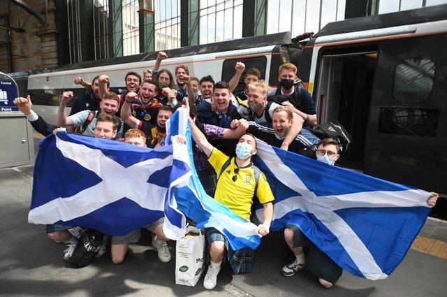 The Tartan Army head for Wembley by train from Glasgow with LNER