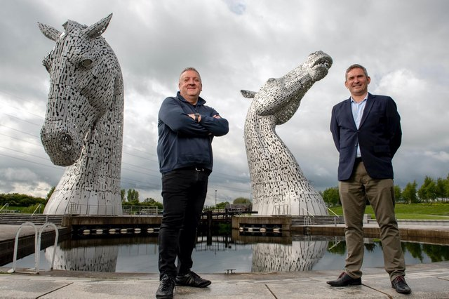 Scottish Building Society's Paul Denton and Ambiental's Justin Butler announce partnership at The Kelpies. Picture: Alistair Devine