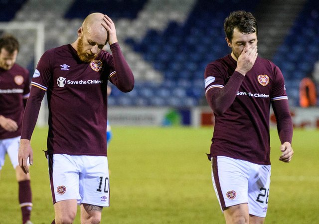 Hearts' Liam Boyce and Craig Halkett at full-time against Inverness.