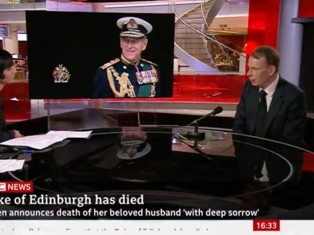 BBC News presenter Andrew Marr addresses the death of the Duke of Edinburgh on TV on Friday