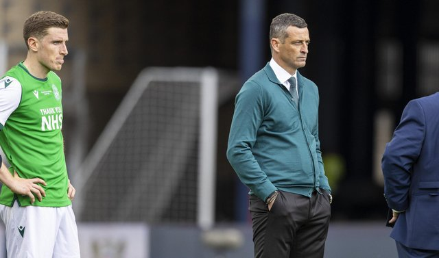 Hibernian head coach Jack Ross dejected at full time of the Scottish Cup final against St Johnstone. (Photo by Craig Williamson / SNS Group)