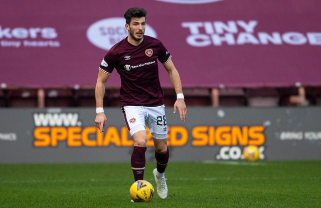 Romanian defender Mihai Popescu in action for Hearts.