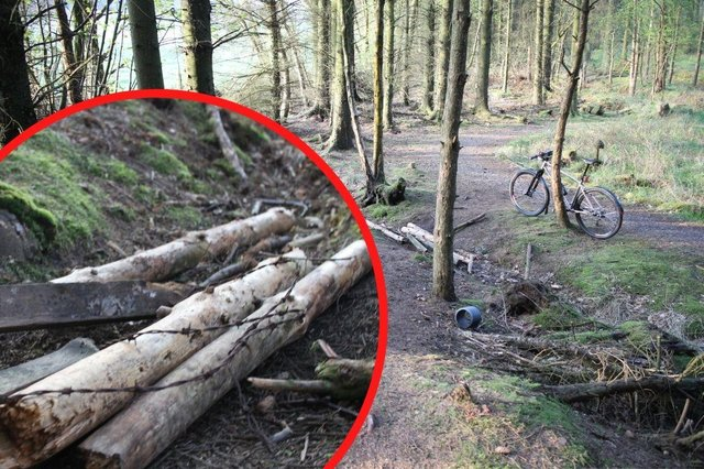 """Photos from the route, which is classified as """"green"""" and suitable for beginner riders, show it blocked at key sections by the obstacles. (Ally Mitchell)"""