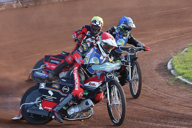 The Monarchs' Stevie Worrall leads the way in the narrow first leg win over Newcastle. Picture: Jack Cupido