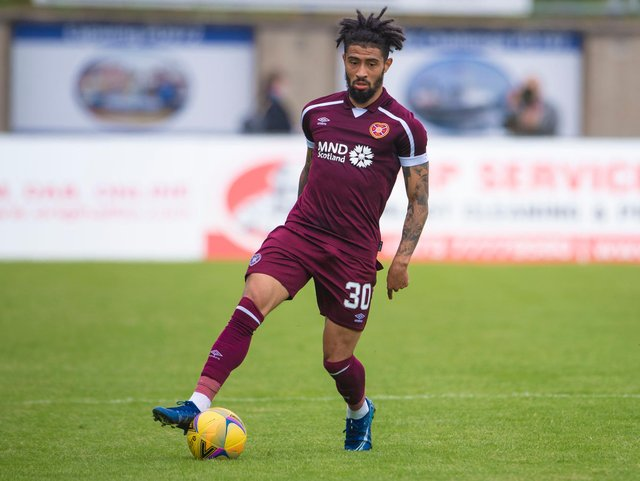 Josh Ginnelly playing for Hearts at Peterhead.