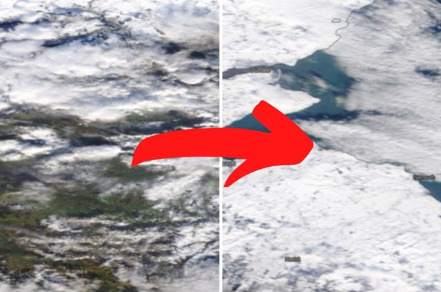 Edinburgh and the Lothians have been photographed from space blanketed in snow.
