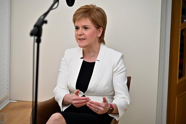 First Minister Nicola Sturgeon appears on the Andrew Marr Show from her home yesterday (Picture: Getty