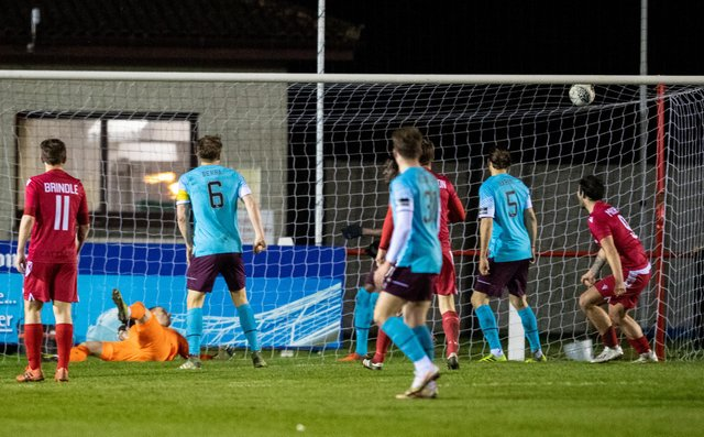 Martin MacLean scores Brora's winner in the Scottish Cup tie against Hearts at Dudgeon Park (Photo by Ross Parker / SNS Group)