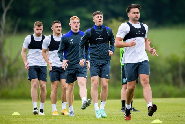 Jack Brydon, centre, impressed on loan at Stenhousemuir last season and is currently with the first-team squad at their training camp in England