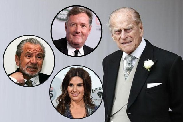 The Duke of Edinburgh has died and tributes are pouring in from celebrities including Rebekah Vardy, Piers Morgan and Lord Sugar.