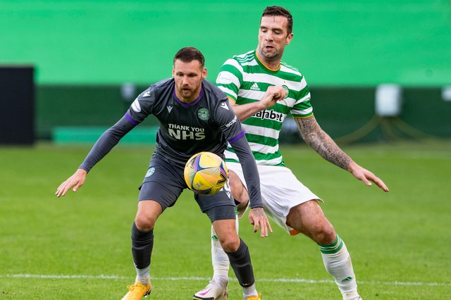 Martin Boyle (left) holds off Sean Duffy during the 3-0 defeat at Celtic Park on Sunday (Photo by Alan Harvey / SNS Group).