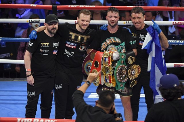 Josh Taylor and his team after his win by unanimous decision over Jose Ramirez in Las Vegas. UK fight fans could only watch the contest on a streaming service. Picture: David Becker/Getty Images