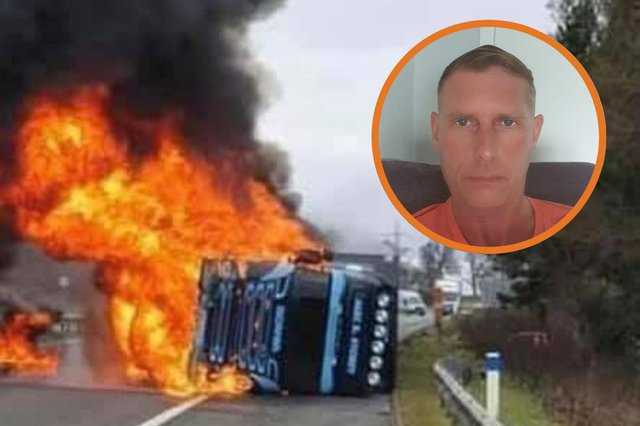 Picture of the scene where the lorry crashed on the M74 at Poniel, near Abington and an inset of Lee Metcalf who pulled the driver to safety. Picture of the scene: M74 Traffic Reports