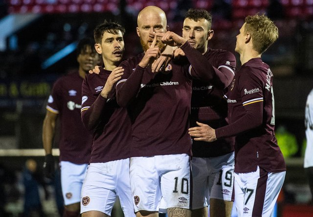 Liam Boyce celebrates after opening the scoring for Hearts at Ayr.
