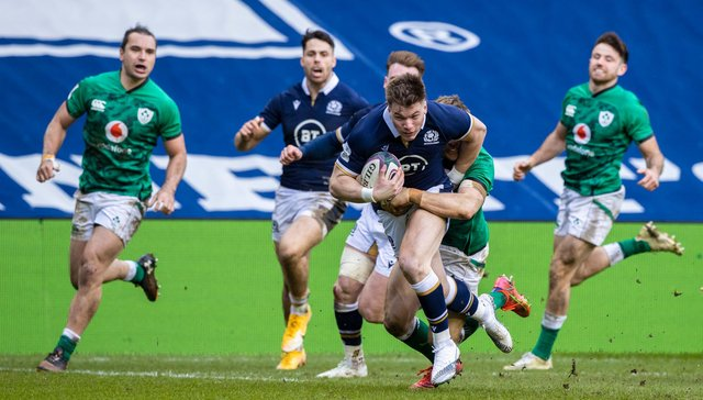 Scotland's Huw Jones drives through for a try during the Guinness Six Nations match between Scotland and Ireland at BT Murrayfield (Photo by Craig Williamson / SNS Group)