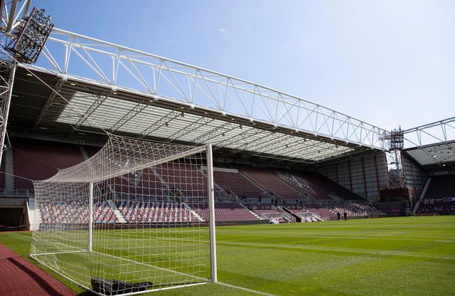 Tynecastle Park resplendent in the sun. Picture: SNS