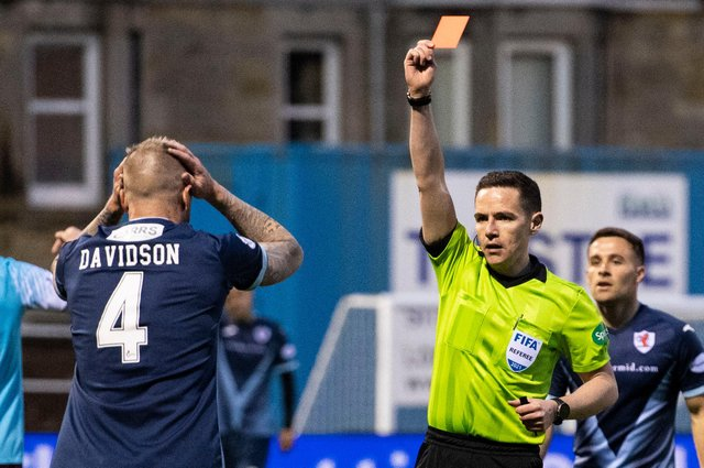 Raith Rovers defender Iain Davidson is shown a red card after being harshly penalised for giving away a penalty. Picture: SNS